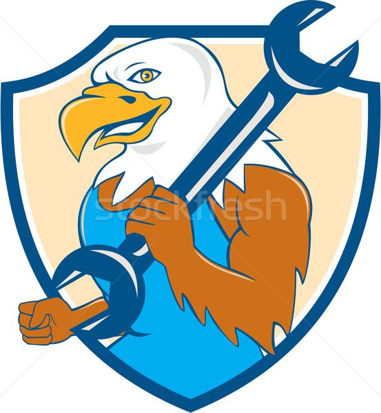 American Bald Eagle Mechanic Wrench Shield Cartoon  Stock photo © patrimonio