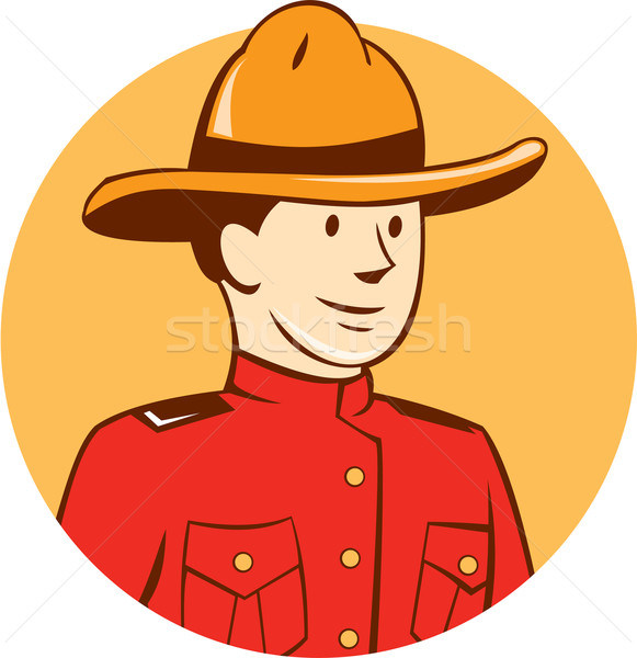 Stock photo: Mounted Police Officer Bust Circle Cartoon