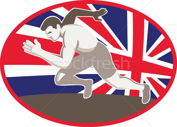 Runner track veld atleet illustratie Stockfoto © patrimonio