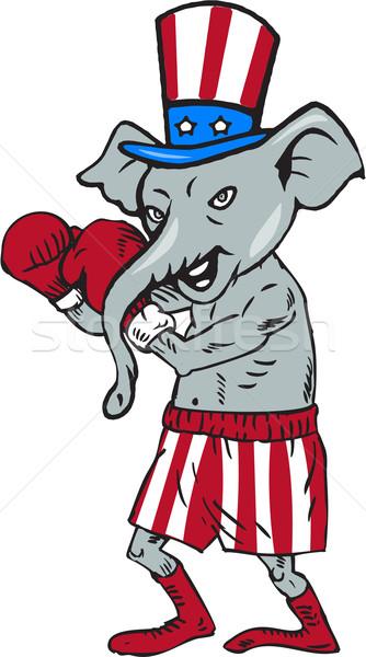 Cumhuriyetçi maskot fil boksör boks karikatür Stok fotoğraf © patrimonio