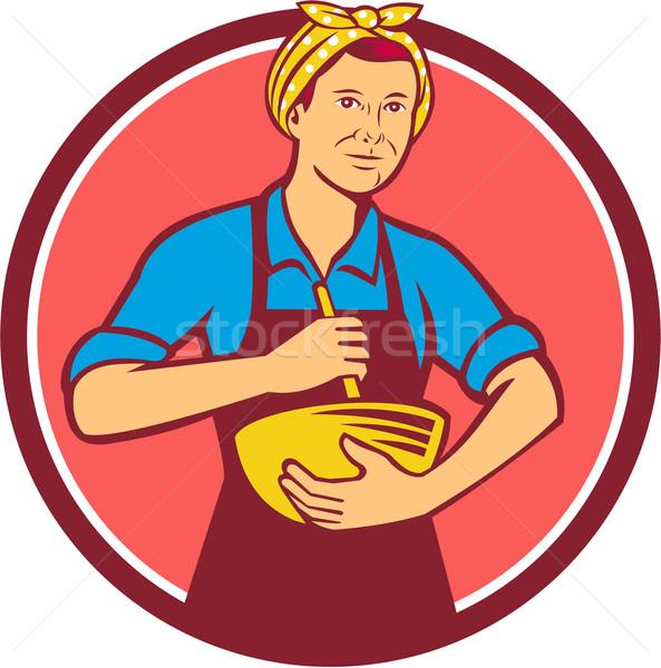 Háziasszony szakács fejpánt tál kör retro Stock fotó © patrimonio