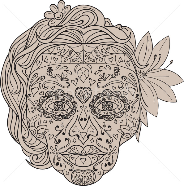 Female Sugar Skull Calavera Retro Stock photo © patrimonio