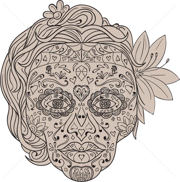 Kobiet cukru czaszki retro ilustracja odznaczony Zdjęcia stock © patrimonio