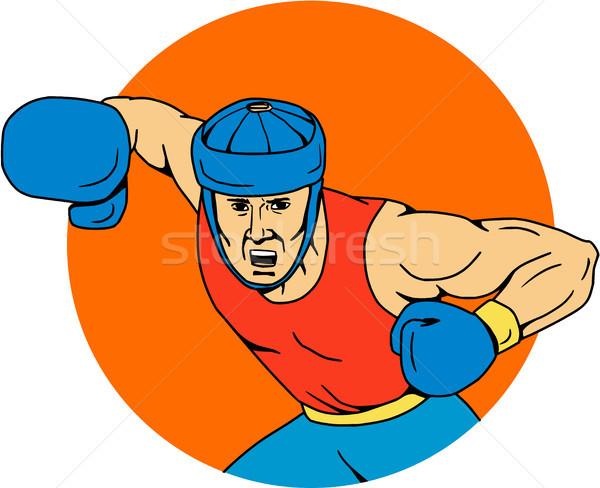Amator bokser kółko rysunek szkic stylu Zdjęcia stock © patrimonio