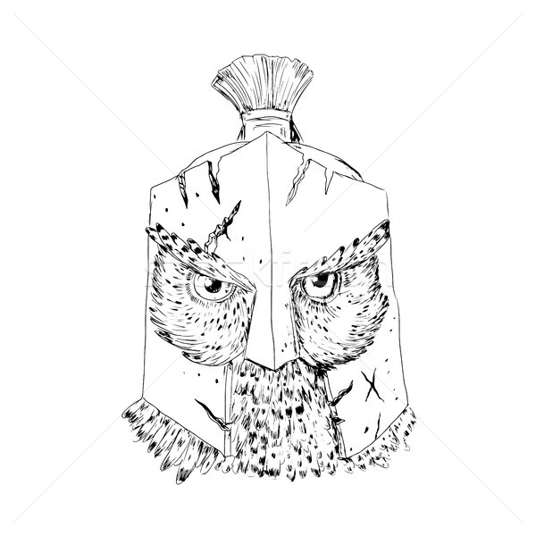 Uil spartaans helm tekening schets stijl Stockfoto © patrimonio