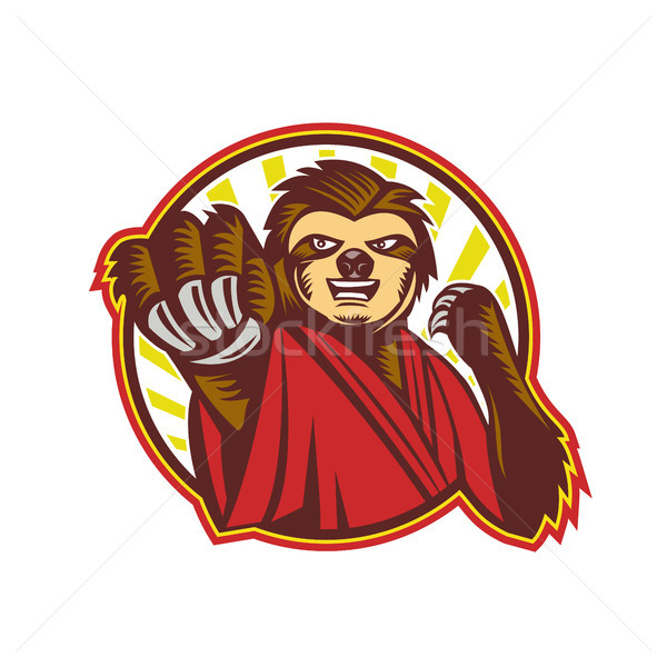 Sloth Fighter Self Defense Circle Mascot Stock photo © patrimonio
