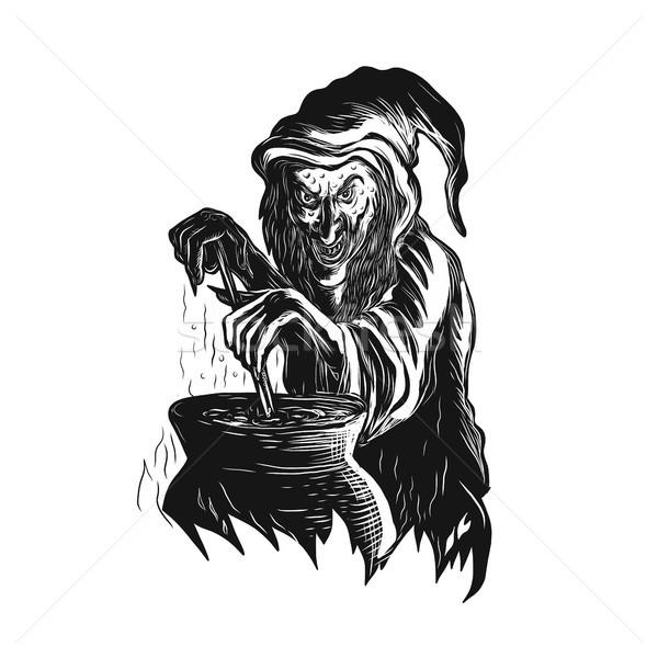 Bruxa pote estilo ilustração magia Foto stock © patrimonio