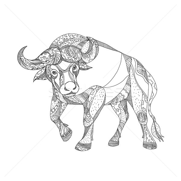 African Buffalo Charging Doodle Stock photo © patrimonio
