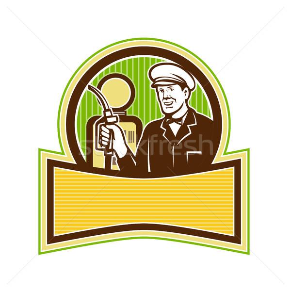 Vintage Gas Attendant Retro Stock photo © patrimonio