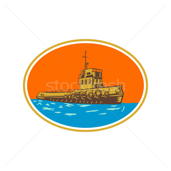 Tugboat Tug Towboat Woodcut Stock photo © patrimonio
