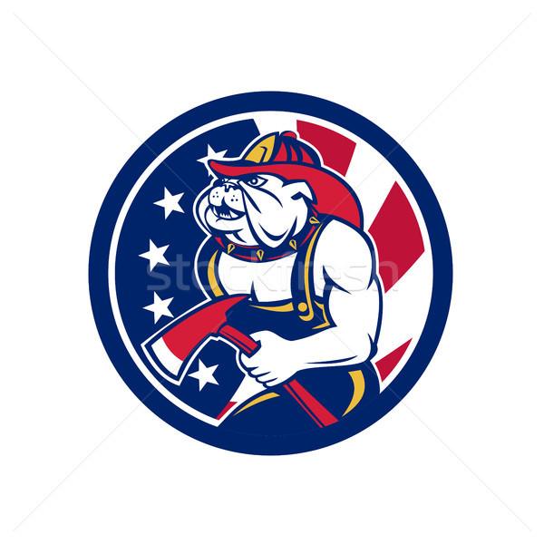 бульдог пожарный американский флаг икона ретро-стиле иллюстрация Сток-фото © patrimonio