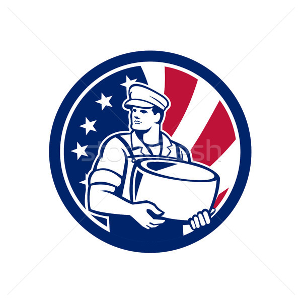 American Artisan Cheese Maker USA Flag Icon Stock photo © patrimonio