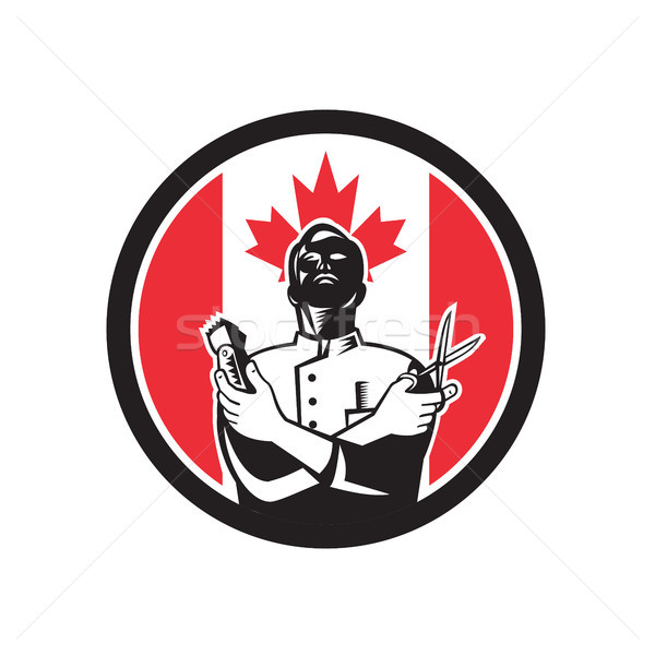 Berber Kanada bayrak ikon retro tarzı örnek Stok fotoğraf © patrimonio