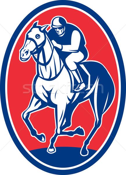 Jóquei equitação corrida de cavalos ilustração conjunto dentro Foto stock © patrimonio
