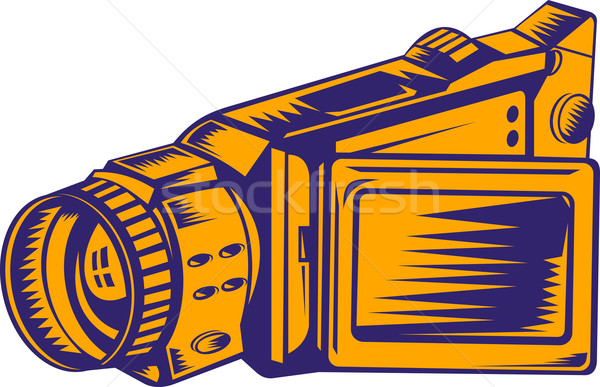 Stock photo: Video Camera Recorder Woodcut