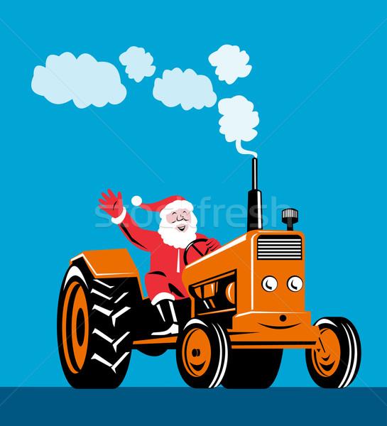 Santa Claus Driving Tractor Stock photo © patrimonio