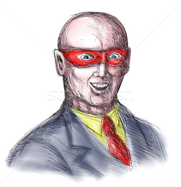 Maske bald Bösewicht Skizze Hand Zeichnung Stock foto © patrimonio