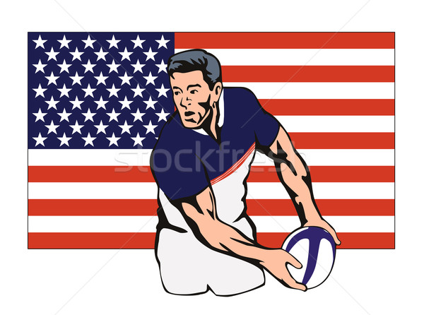American Rugby player passing ball Stock photo © patrimonio