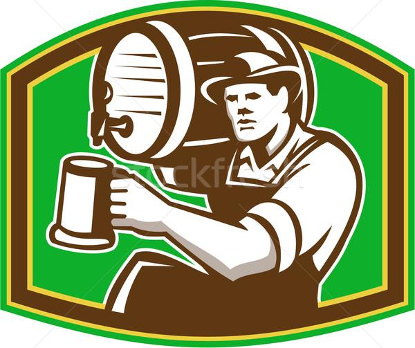 Barman garçom cerveja barril retro Foto stock © patrimonio