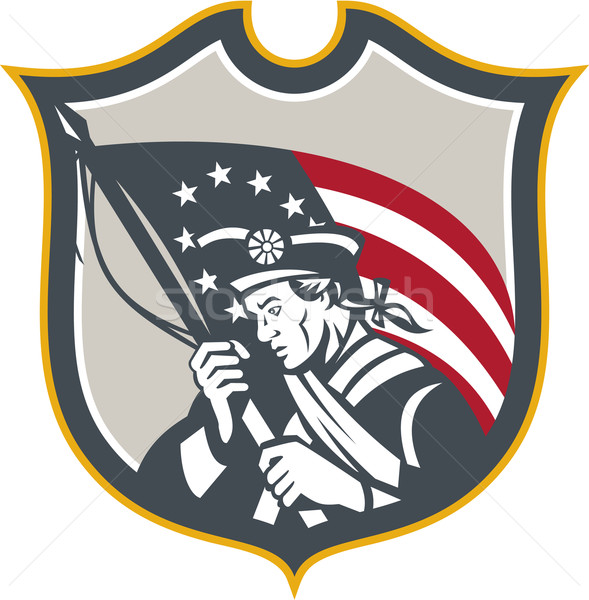 Patriot Amerikaanse vlag schild retro illustratie Stockfoto © patrimonio