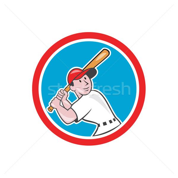 Baseball Player Batting Looking Up Circle Cartoon Stock photo © patrimonio
