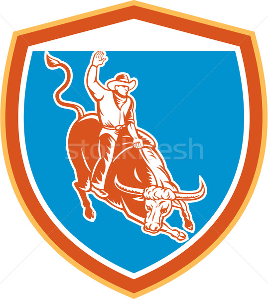 Rodeo Cowboy Bull Riding Shield Retro Stock photo © patrimonio