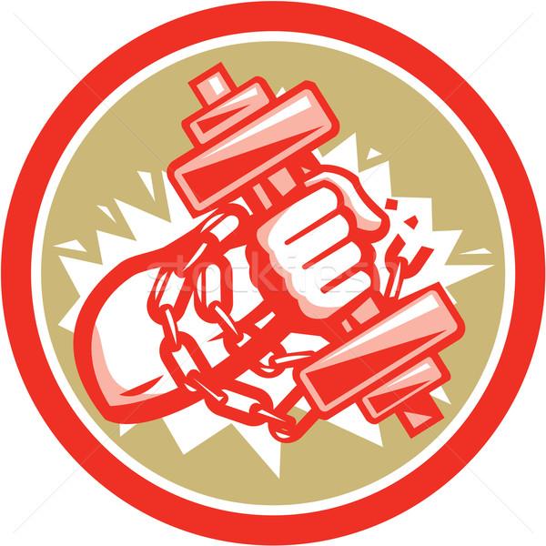 Hand Holding Dumbbell Chains Circle Retro Stock photo © patrimonio