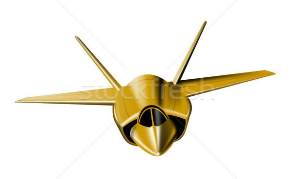 Gold fighter jetplane front view isolated on white background Stock photo © patrimonio