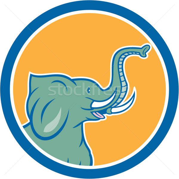 Elephant Head Side Circle Cartoon Stock photo © patrimonio