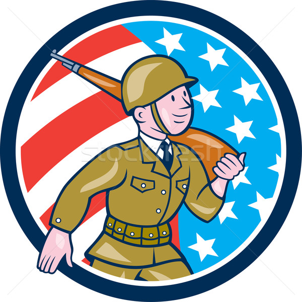 World War Two Soldier American Marching Cartoon Circle Stock photo © patrimonio