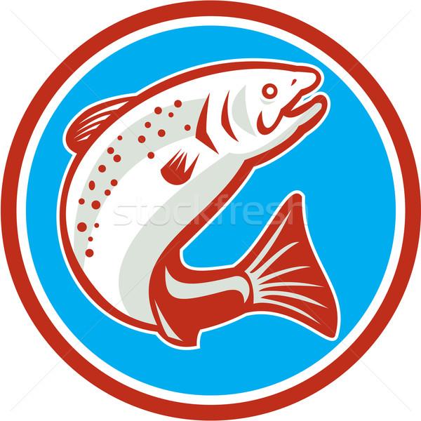 Trucha peces saltar círculo retro ilustración Foto stock © patrimonio