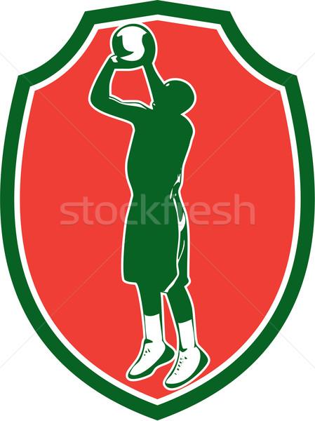 Ir tiro pelota escudo retro Foto stock © patrimonio