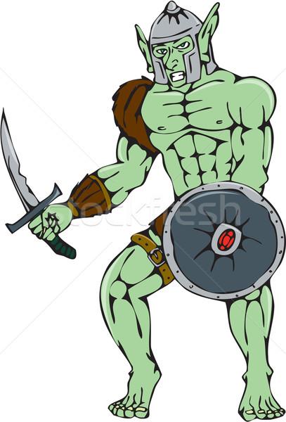 Guerreiro espada escudo desenho animado estilo ilustração Foto stock © patrimonio