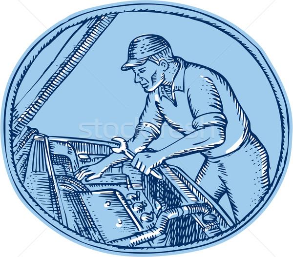 Mechanik samochodowy naprawa samochodów wykonany ręcznie stylu Zdjęcia stock © patrimonio