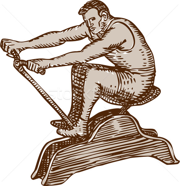 Athlete Exercising Vintage Rowing Machine Etching Stock photo © patrimonio