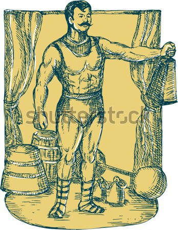 Maori Warrior Wielding Patu Kneeling Etching Stock photo © patrimonio