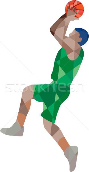 Basketball Player Jump Shot Ball Low Polygon Stock photo © patrimonio
