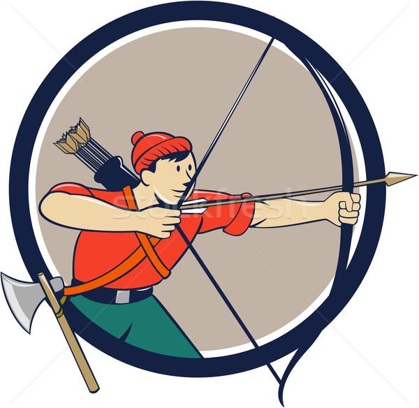 лучник долго лук стрелка Cartoon круга Сток-фото © patrimonio
