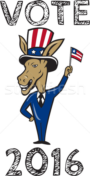 Vote 2016 Democrat Donkey Mascot Flag Cartoon Stock photo © patrimonio