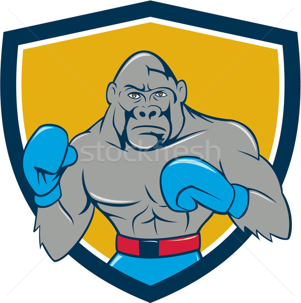 Gorilla Boxer Boxing Stance Crest Cartoon Stock photo © patrimonio