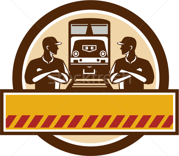Tren ingenieros los brazos cruzados diesel círculo retro Foto stock © patrimonio