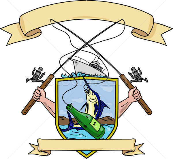 Stock photo: Fishing Rod Reel Blue Marlin Fish Beer Bottle Coat of Arms Drawing