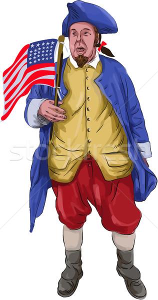 Americano patriota bandera acuarela Foto stock © patrimonio