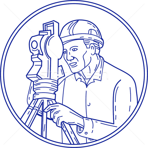 Surveyor Theodolite Circle Mono Line Stock photo © patrimonio