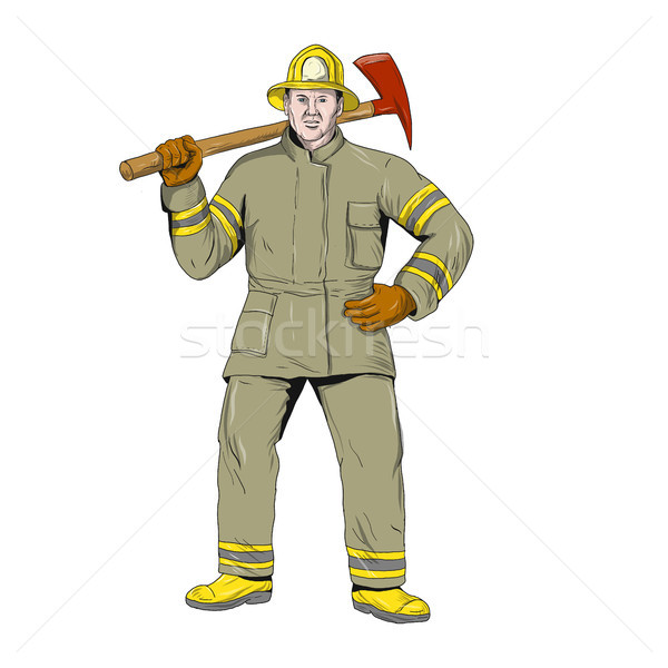 American Firefighter Fire Axe Drawing Stock photo © patrimonio