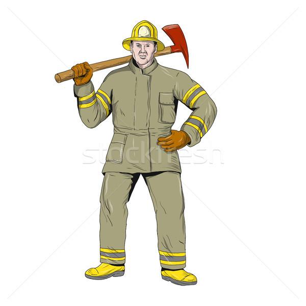 American Firefighter Fire Axe Drawing Stock photo © patrimonio