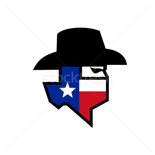 бандит Техас флаг икона стиль иллюстрация Сток-фото © patrimonio