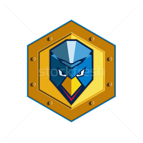 Cyber Punk Chicken Hexagon Icon Stock photo © patrimonio