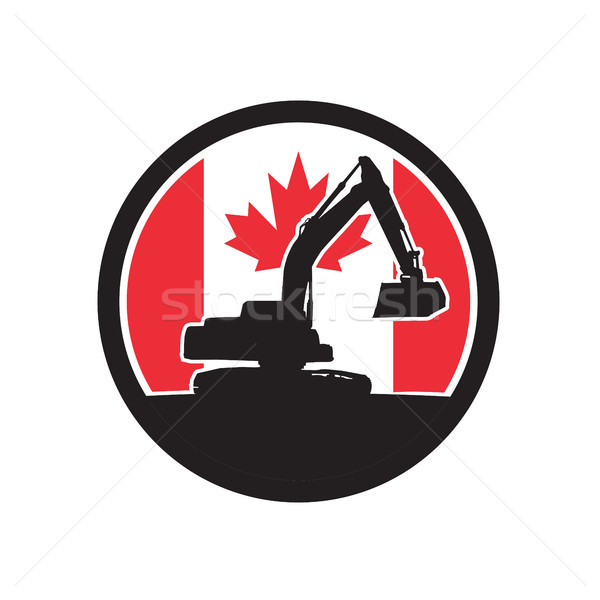 掘削機 カナダ フラグ アイコン レトロスタイル 実例 ストックフォト © patrimonio