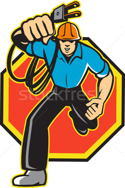 Electrician Worker Running Electrical Plug Stock photo © patrimonio